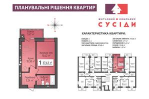 ЖК Сусіди: планування 1-кімнатної квартири 37.42 м²