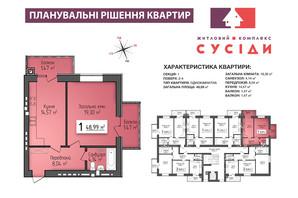 ЖК Сусіди: планування 1-кімнатної квартири 48.99 м²