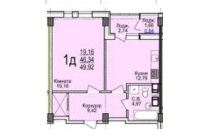 ЖК Свято-Троицкий посад: планировка 1-комнатной квартиры 49.92 м²