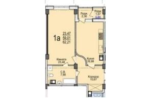 ЖК Свято-Троицкий посад: планировка 1-комнатной квартиры 62.21 м²