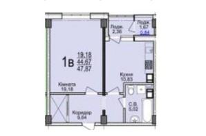 ЖК Свято-Троицкий посад: планировка 1-комнатной квартиры 47.87 м²