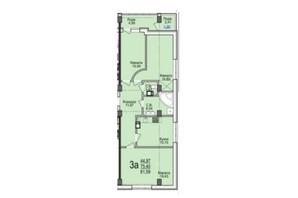 ЖК Свято-Троицкий посад: планировка 3-комнатной квартиры 81.59 м²