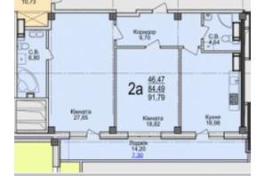 ЖК Свято-Троицкий посад: планировка 2-комнатной квартиры 91.79 м²