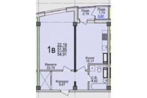 ЖК Свято-Троицкий посад: планировка 1-комнатной квартиры 54.91 м²
