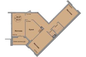 ЖК Святобор: планировка 3-комнатной квартиры 83.51 м²