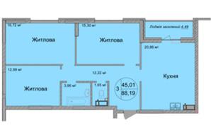 ЖК Святобор: планировка 3-комнатной квартиры 88.19 м²