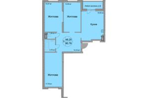 ЖК Святобор: планировка 3-комнатной квартиры 97.85 м²