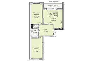 ЖК Святобор: планировка 2-комнатной квартиры 79.76 м²