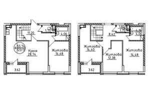 ЖК Святобор: планировка 4-комнатной квартиры 123.13 м²