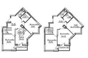 ЖК Святобор: планировка 5-комнатной квартиры 123.78 м²