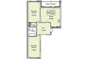 ЖК Святобор: планування 2-кімнатної квартири 79.55 м²