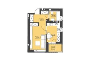 ЖК Святой Николай: планировка 1-комнатной квартиры 36.89 м²