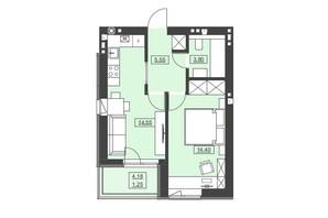 ЖК Святой Николай: планировка 1-комнатной квартиры 39.55 м²