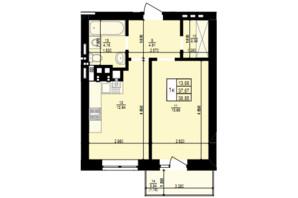 ЖК Святий Антоній: планування 1-кімнатної квартири 38.85 м²