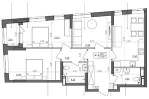 ЖК Svitlo Park: планировка 3-комнатной квартиры 76.6 м²