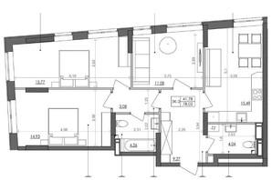 ЖК Svitlo Park: планировка 3-комнатной квартиры 77.7 м²