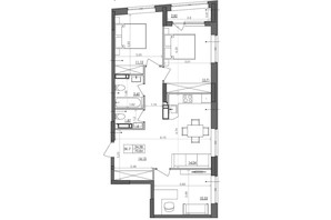 ЖК Svitlo Park: планировка 3-комнатной квартиры 69.5 м²