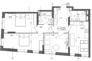 ЖК Svitlo Park: планировка 3-комнатной квартиры 78 м²