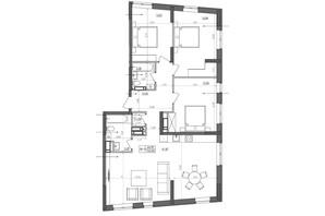 ЖК Svitlo Park: планировка 3-комнатной квартиры 105.6 м²