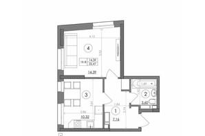 ЖК Svitlo Park: планировка 1-комнатной квартиры 35.47 м²