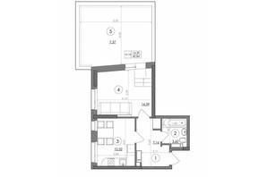 ЖК Svitlo Park: планировка 1-комнатной квартиры 42.84 м²