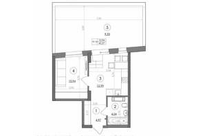 ЖК Svitlo Park: планировка 1-комнатной квартиры 42.27 м²