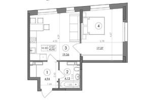 ЖК Svitlo Park: планировка 1-комнатной квартиры 45.9 м²