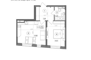 ЖК Svitlo Park: планировка 1-комнатной квартиры 45.5 м²