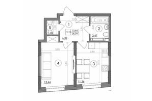 ЖК Svitlo Park: планировка 1-комнатной квартиры 36.04 м²