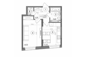 ЖК Svitlo Park: планировка 1-комнатной квартиры 35.97 м²
