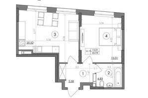 ЖК Svitlo Park: планировка 1-комнатной квартиры 45.94 м²