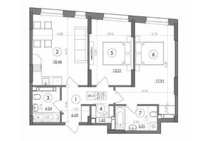 ЖК Svitlo Park: планировка 2-комнатной квартиры 67.11 м²