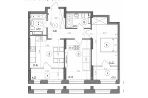 ЖК Svitlo Park: планировка 2-комнатной квартиры 68.35 м²