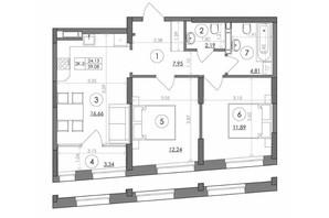 ЖК Svitlo Park: планировка 2-комнатной квартиры 59.08 м²