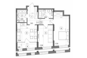 ЖК Svitlo Park: планировка 2-комнатной квартиры 64.95 м²