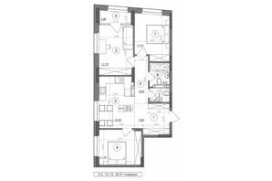 ЖК Svitlo Park: планировка 3-комнатной квартиры 69.49 м²