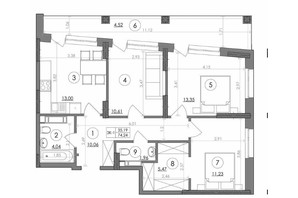 ЖК Svitlo Park: планировка 3-комнатной квартиры 74.24 м²