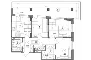 ЖК Svitlo Park: планировка 3-комнатной квартиры 78.37 м²