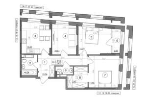 ЖК Svitlo Park: планировка 3-комнатной квартиры 74.73 м²