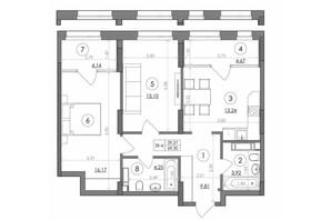 ЖК Svitlo Park: планировка 2-комнатной квартиры 69.3 м²