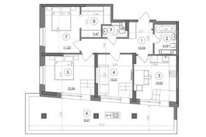 ЖК Svitlo Park: планировка 3-комнатной квартиры 78.4 м²