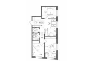 ЖК Svitlo Park: планировка 3-комнатной квартиры 69.43 м²