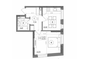 ЖК Svitlo Park: планировка 1-комнатной квартиры 35.78 м²