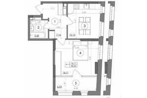 ЖК Svitlo Park: планировка 1-комнатной квартиры 45.35 м²