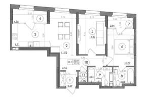 ЖК Svitlo Park: планировка 2-комнатной квартиры 70.1 м²