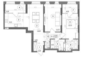 ЖК Svitlo Park: планировка 2-комнатной квартиры 76.21 м²