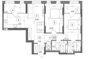 ЖК Svitlo Park: планировка 2-комнатной квартиры 77.79 м²