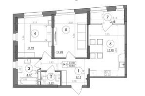 ЖК Svitlo Park: планировка 2-комнатной квартиры 58.85 м²