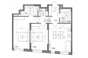 ЖК Svitlo Park: планировка 2-комнатной квартиры 67.48 м²