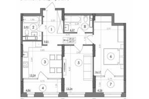 ЖК Svitlo Park: планировка 2-комнатной квартиры 69.77 м²